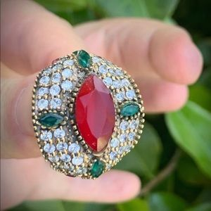 Ruby/Emerald RING Size 8 Solid 925 Silver/Gold